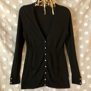 White House Black Market v-neck cardigan in black